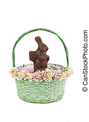 chocolate bunny on basket - View of chocolate easter...