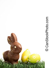 Chocolate bunny rabbit and easter eggs