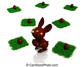 Chocolate bunny with Easter eggs