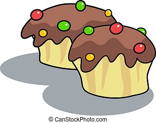 Chocolate Buns - Tasty chocolate buns with candy ontop.