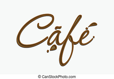 Chocolate cafe text made of chocolate vector design element.