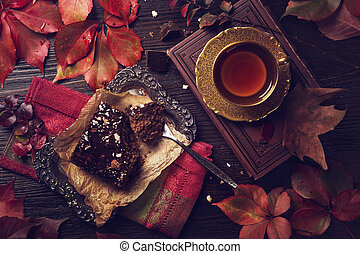 Chocolate cake and a cup of tea