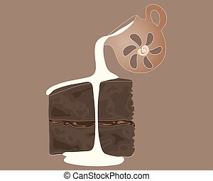 chocolate cake and cream - a vector illustration in eps 10...