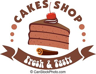 Chocolate cake badge for pastry shop design