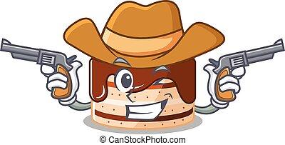 Chocolate cake Cowboy cartoon concept having guns