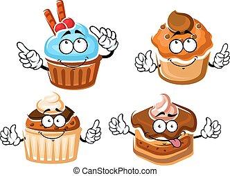 Chocolate cake, cupcake and caramel muffins