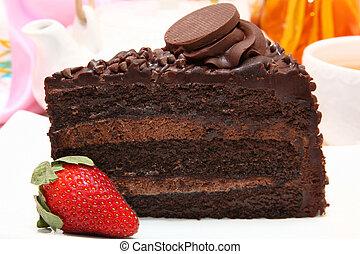 Dark and Milk chocolate cake with strawberry.