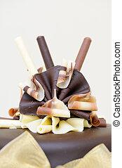 Chocolate cake decoration - Closeup detail of chocolate...