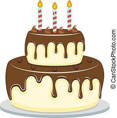 chocolate cake flat style. Vector illustration icon isolated on white background.