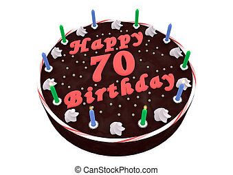 chocolate cake for 70th birthday - chocolate cake with Happy...