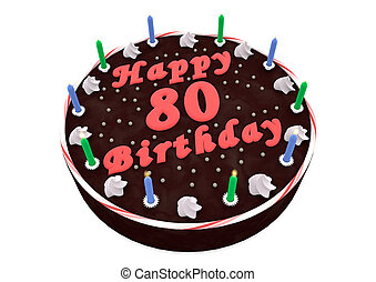 chocolate cake for 80th birthday - chocolate cake with Happy...