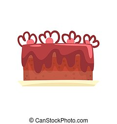 Chocolate cake for birthday party, sweet dessert cartoon vector Illustration