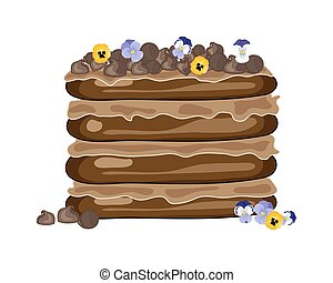 chocolate cake - a vector illustration in eps 10 format of a...