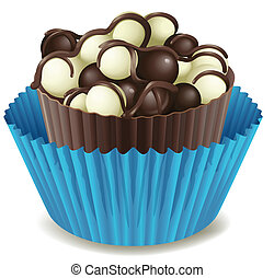 Chocolate cake in blue cup