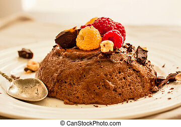 Chocolate cake mousse with raspberries. Horizontal.