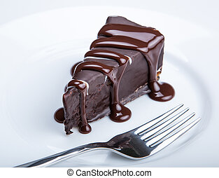 chocolate cake on a plate close up
