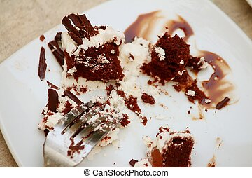 Chocolate cake on a white plate with a fork.