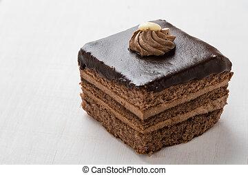 chocolate cake on table
