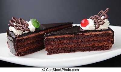 Chocolate cake on the white plate