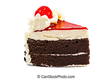 Chocolate cake on white background
