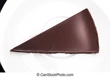 Chocolate cake on white background.