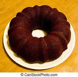 Chocolate Cake - Overhead view of plain chocolate cake.
