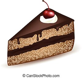 Chocolate Cake - Piece of chocolate cake with a cherry on...