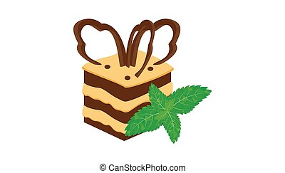 chocolate cake piece on white background