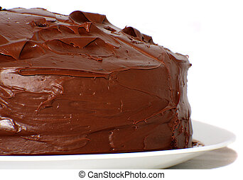 Pure chocolate cake isolated on white