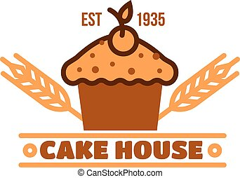 Chocolate cake retro badge for bakery design
