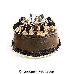 Chocolate cake - Round chocolate cake isolated on white...