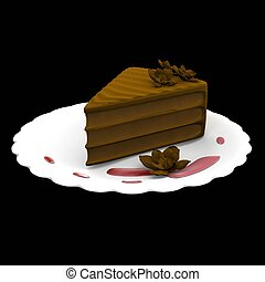 Chocolate cake slice - 3d computer generated