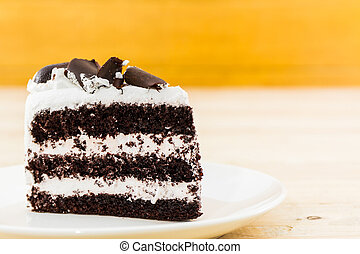Chocolate cake slice. - Chocolate cake slice on the white...