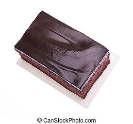 Chocolate cake slice on white background