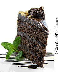 chocolate cake on a white plate drizzled with chocolate...