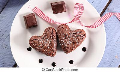 chocolate cake, top view