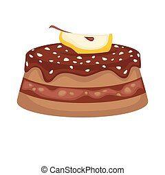 Chocolate cake torte with apple topping vector template icon...