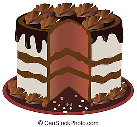 chocolate cake - vector cut cake
