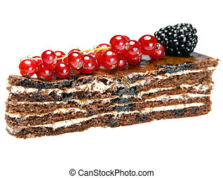 Chocolate Cake with a red currant and a blackberry on a...