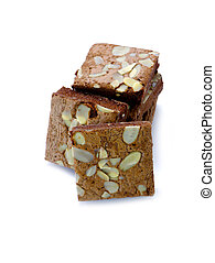 chocolate cake with almonds on white isolated background