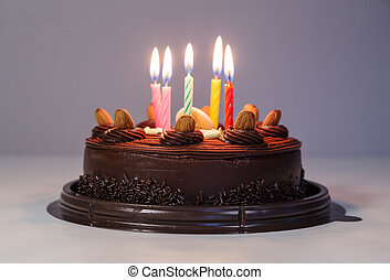 chocolate cake with birthday light candle