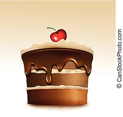 Chocolate cake with biscuit cream and cherry. Vector...