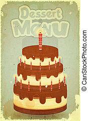 chocolate cake with candles - Vintage Dessert Menu -...