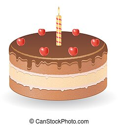 chocolate cake with cherries and burning candle vector illustration isolated on white background