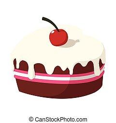 Chocolate cake with cherry cartoon icon