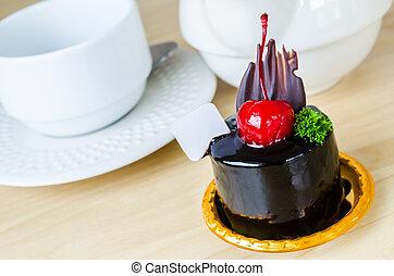 Chocolate cake with cherry