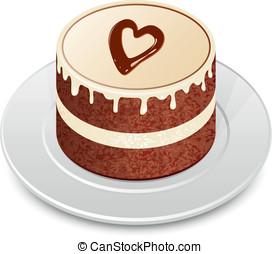 Chocolate cake with chocolate heart. Valentine's cake