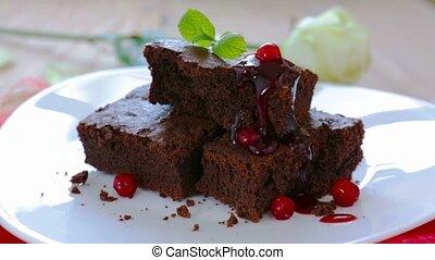 Chocolate cake with fresh berry . - Beautiful chocolate cake...