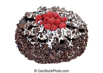 Chocolate cake with fresh raspberries