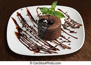 Chocolate cake with ice cream- isolated